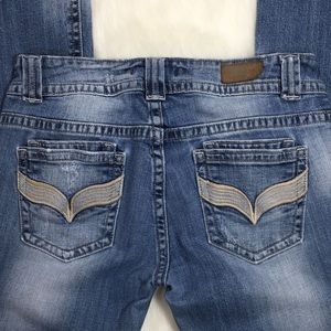 Vigoss Distressed Embroidery Wing V Pocket Jeans 7